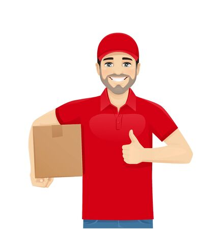 Handsome delivery man in red uniform showing thumb up with box isolated vector illustration
