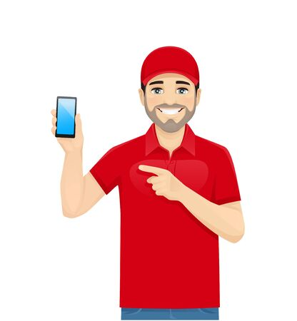 Handsome delivery man in red uniform showing phone witn blank screen. Isolated vector illustration
