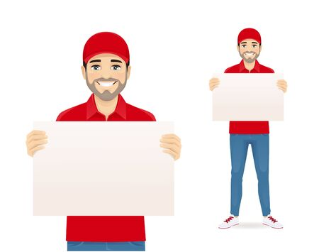 Handsome delivery man in red uniform holding empty blank board isolated vector illustration