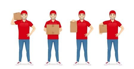 Handsome delivery man in red uniform standing in different poses with box and paper packet set isolated vector illustration