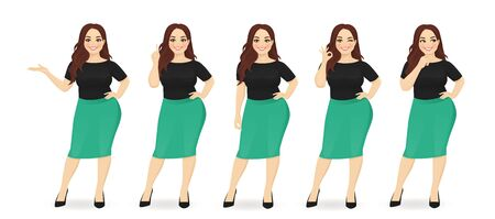 Young happy beautiful plus size woman wearing business style clothes in different poses isolated illustration