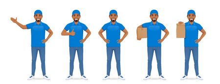 Handsome delivery man in blue uniform standing in different poses set isolated illustration