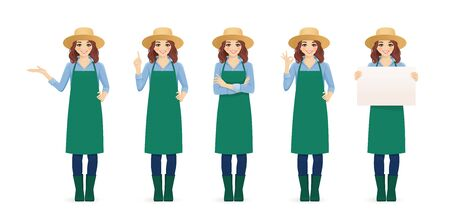Smiling gardening farmer woman in apron and straw hat standing with different gestures isolated