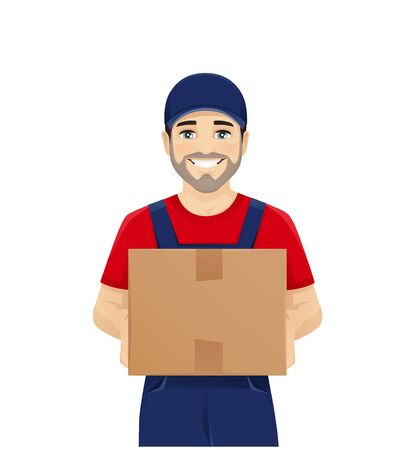 Handsome delivery man in overalls holding box smiling isolated on white Ilustração