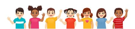 Smiling kids boys and girls waving hands set isolated vector illustration. Illustration