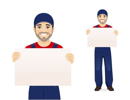 Handsome man in blue overalls holding empty blank board isolated vector illustration Illustration