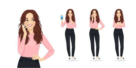 Young woman with long hair in casual style clothes with mobile phone isolated vector illustration Illustration
