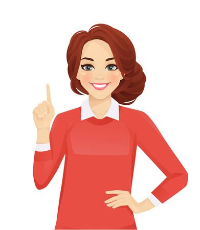 Casual business woman pointing up isolated vector illustration