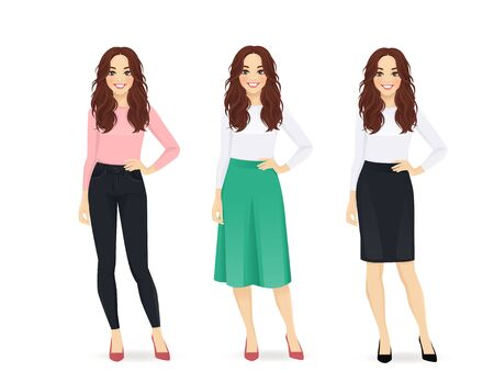 Young happy woman with long hair dressed in different casual business style clothes set isolated vector illustration