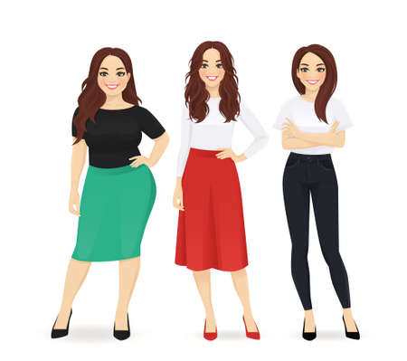Three elegant casual business women standing isolated vector illustration
