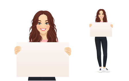 Beautiful smiling young woman in jeans holding empty blank board isolated vector illustration Ilustração