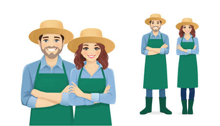 Smiling young man and woman in apron and straw hat standing isolated vector illustration