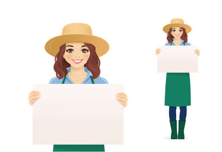 Smiling gardening farmer woman in apron and straw hat holding empty blank board isolated vector illustration