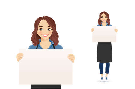 Smiling woman in apron holding empty blank board isolated vector illustration Illustration