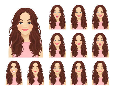 Young beautiful woman with different facial expressions set isolated vector illustration