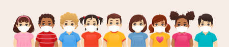 Multiethnic children boys and girls wearing protective medical face mask as protection against transmissible infectious diseases, flu and air pollution vector illustration. Illustration