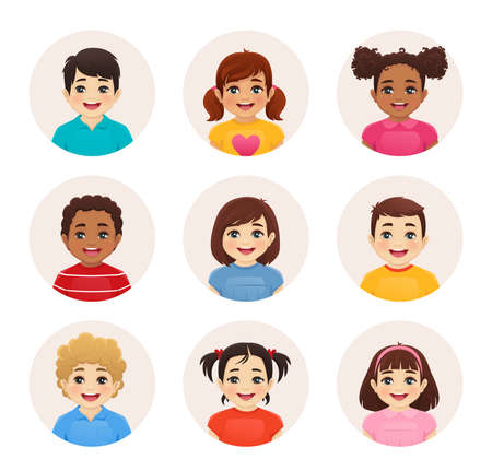 Smiling kids boys and girls avatar set isolated vector illustration. Multiethnic happy children faces.  イラスト・ベクター素材