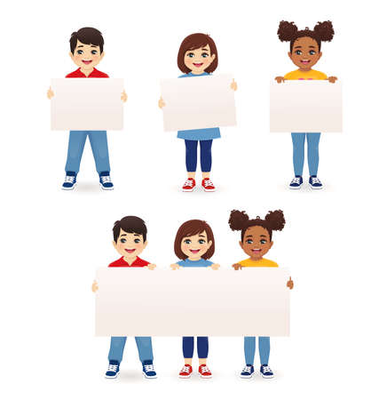 Smiling kids boys and girls holding empty blank board isolated vector illustration. Multiethnic happy children with placard.