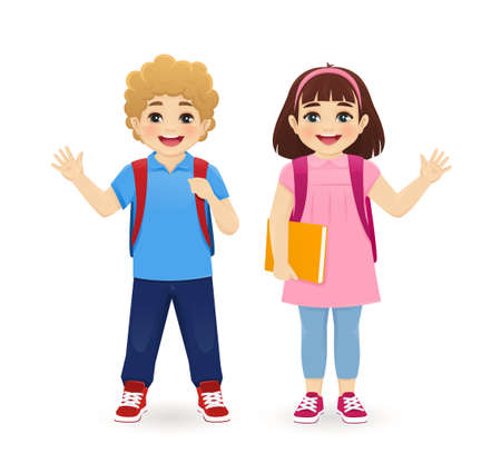 Smiling school boy and girl with backpack waving hand isolated vector illustration