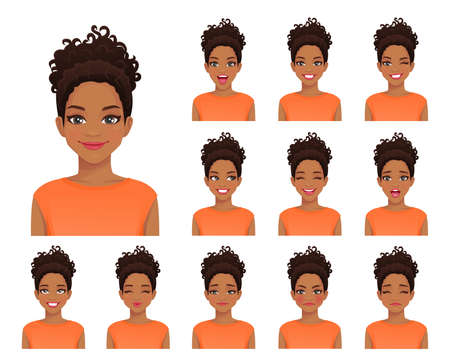 African american woman with different facial expressions and afro hairstyle set isolated