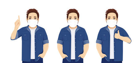 Handsome big man in casual clothes wearing medical mask as protection against transmissible infectious diseases and air pollution. isolated vector illustration Иллюстрация
