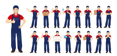 Handsome man in blue overalls standing in different poses set isolated vector illustration