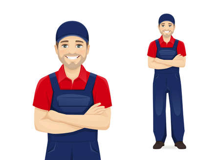 Full length handsame man in blue overalls standing with arms crossed isolated vector illustration 일러스트