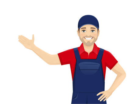 Handsame man in blue overalls presenting something isolated vector illustration 일러스트