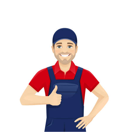 Handsame man in blue overalls showing thumb up isolated vector illustration