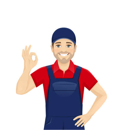 Handsame man in blue overalls gesturing ok sign isolated vector illustration
