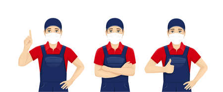 Handsame man in blue overalls wearing protective medical mask isolated vector illustration