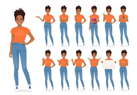 Young african woman in casual style clothes set different gestures isolated vector iilustration