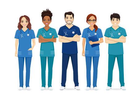 Multiethnic nurse characters group. Medical team isolated vector illustartion 일러스트