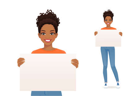 African beautiful smiling young woman in jeans holding empty blank board isolated vector illustration 일러스트