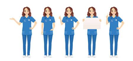 Female woman nurse set in different poses isolated vector illustartion 일러스트