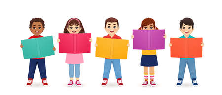 Smiling cute kids boys and girls holding books isolated vector illustration. Multiethnic happy children reading.