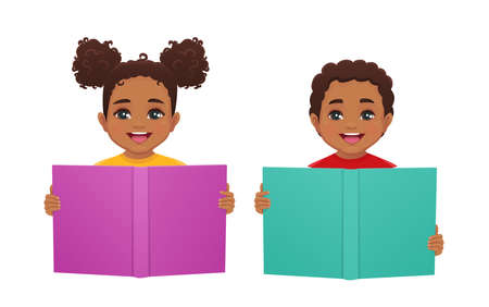 Happy african cute kids boy and girl reading book isolated vector illustration 일러스트