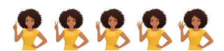 Smiling beatiful woman with afro hairstyle pointing up. One, two, three, four, five fingers isolated  illustration