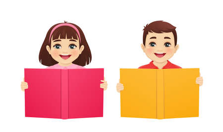 Happy cute kids boy and girl reading book isolated  illustration