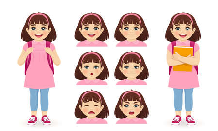 School girl holding book with backpack emotions set isolated  illustration 일러스트