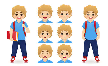 School boy holding book with backpack emotions set isolated  illustration