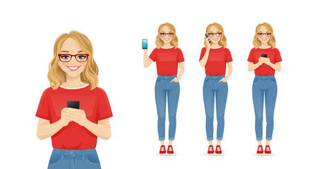 Young woman with glasses in casual style clothes using mobile phone isolated illustration