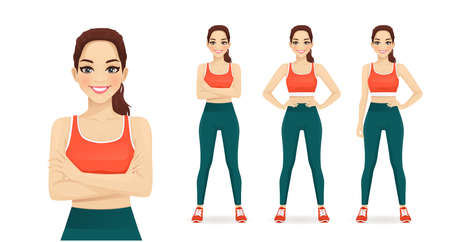 Sport fitness woman in sportswear set isolated  illustration