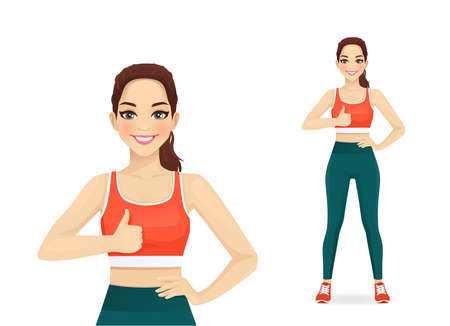 Sport woman showing thumb up gesture isolated  illustration 일러스트