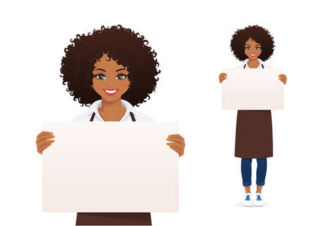 Smiling african woman in apron holding empty blank board isolated  illustration 일러스트