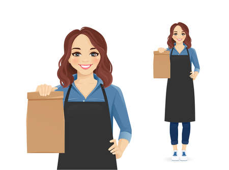 Smiling woman in apron standing with paper packet isolated  illustration