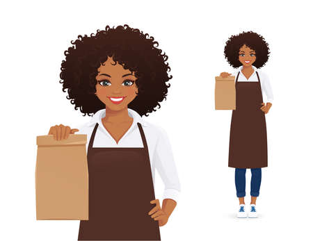 Smiling african woman in apron standing with paper packet isolated  illustration