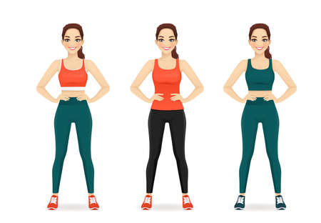 Sport fitness woman in different sportswear set isolated  illustration