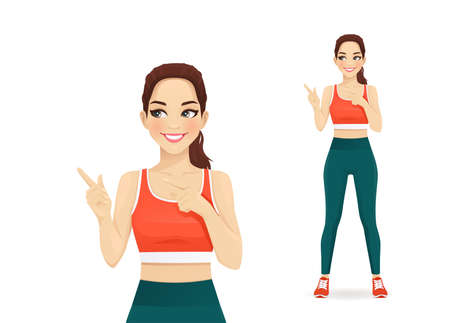 Sport young woman pointing away gesture isolated  illustration