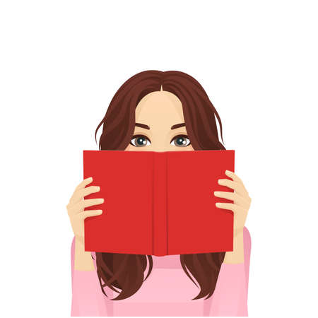 Young woman reading book isolated vector illustration
